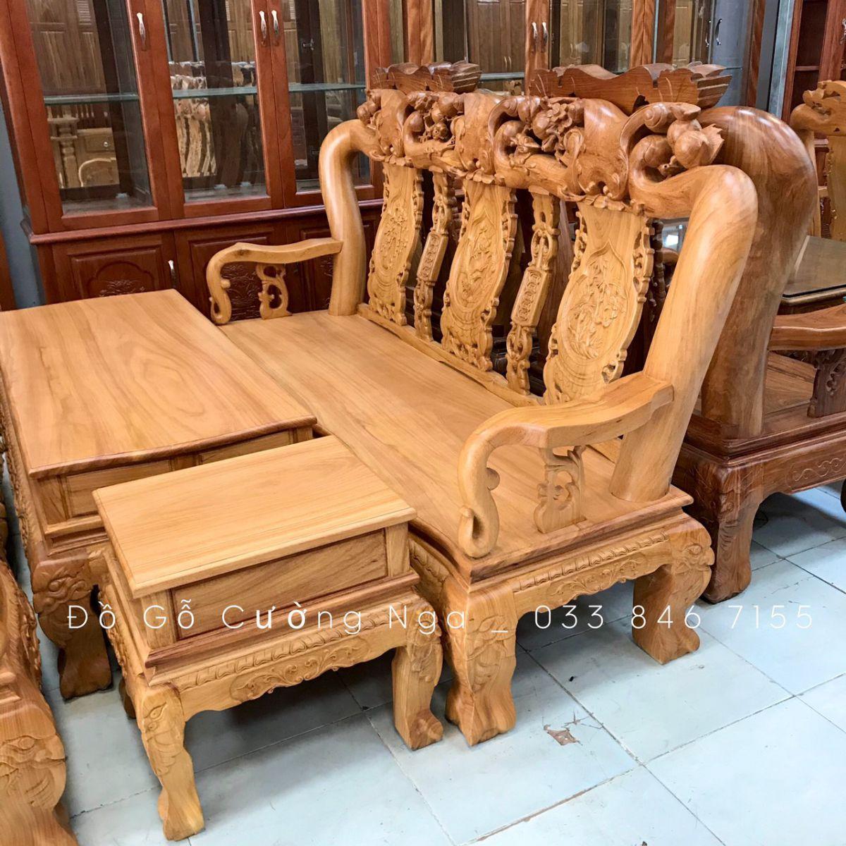 bàn ghế salon gỗ gõ đỏ
