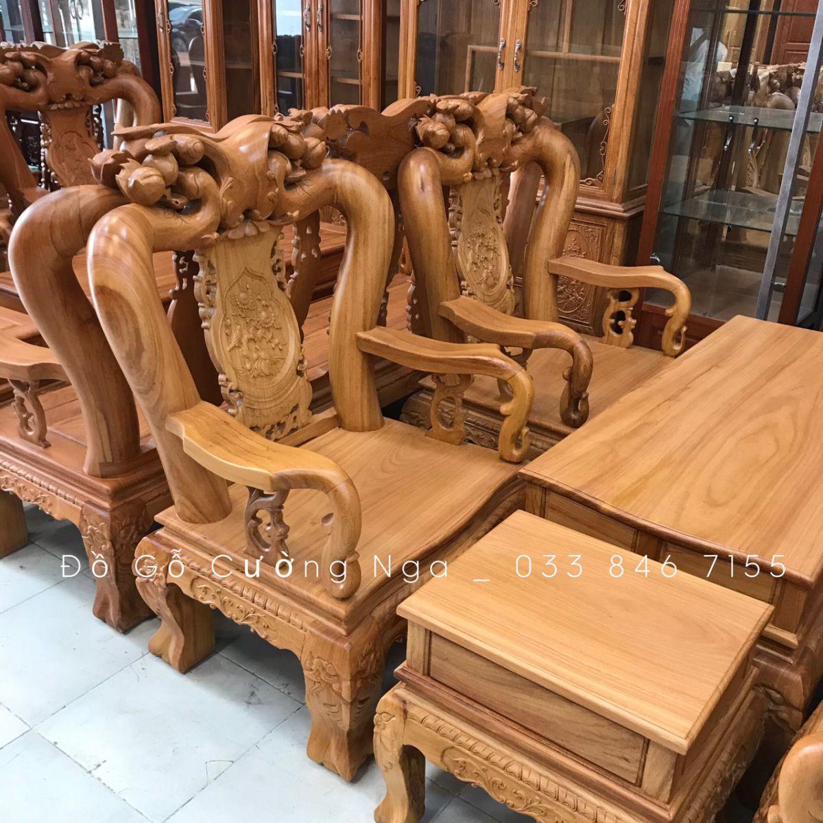 bàn ghế phòng gỗ gõ đỏ