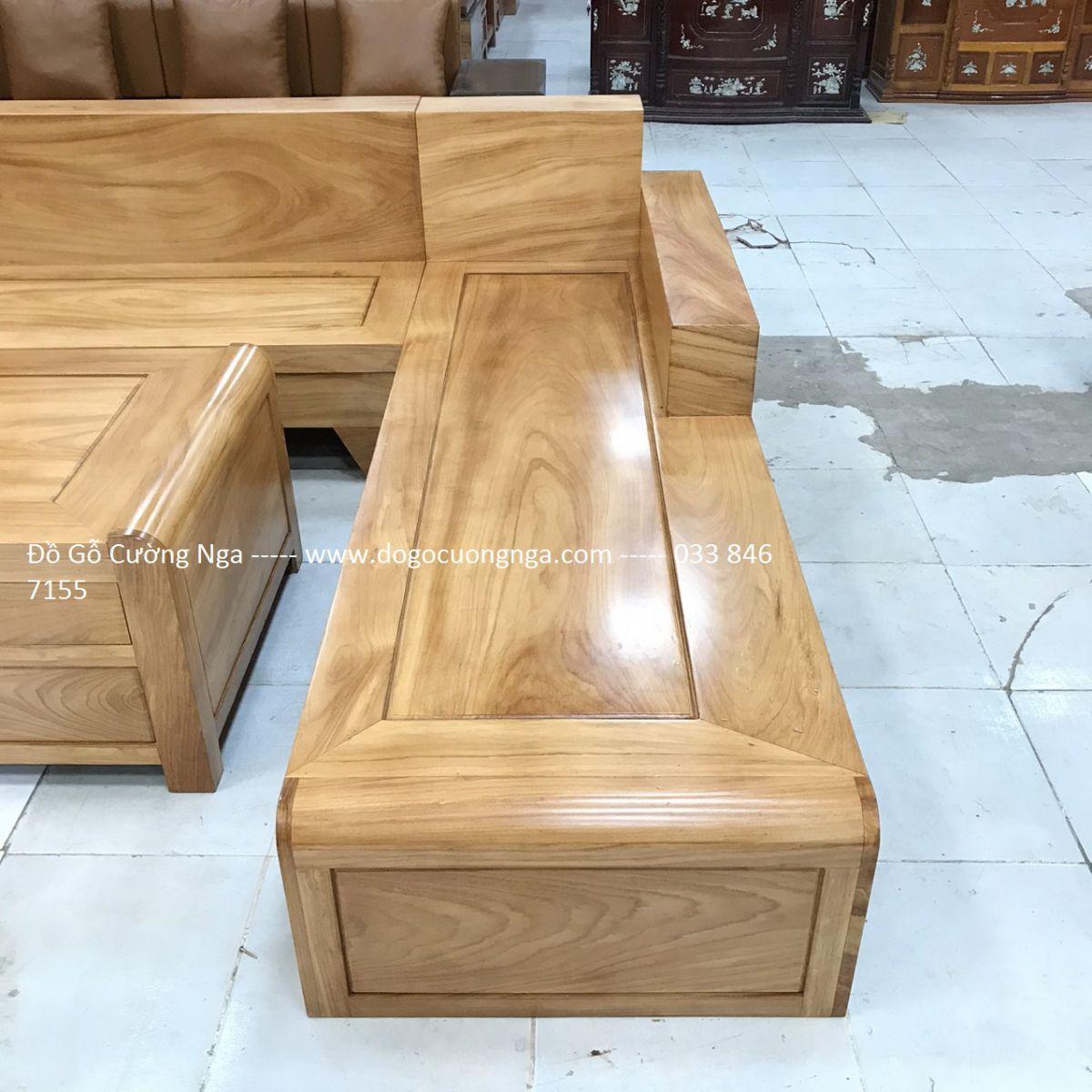 Bộ Bàn Ghế Sofa Gỗ Gõ Đỏ Mẫu Chân Cuốn 2m82x2m12 ( Vế phải ) (Ảnh 4)