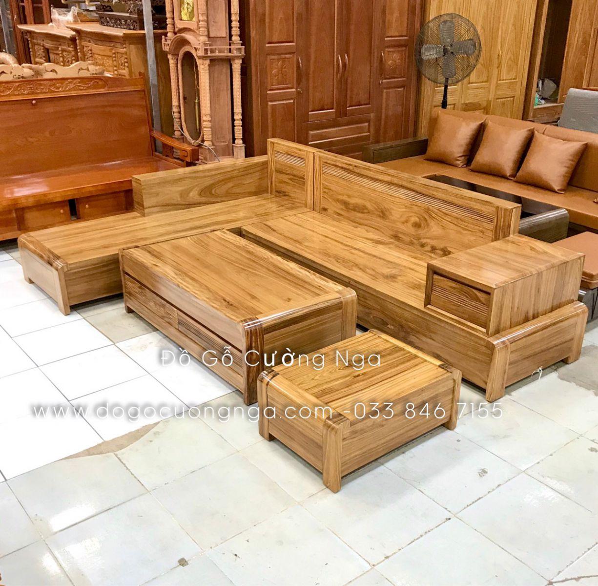 sofa gỗ hương xám góc L