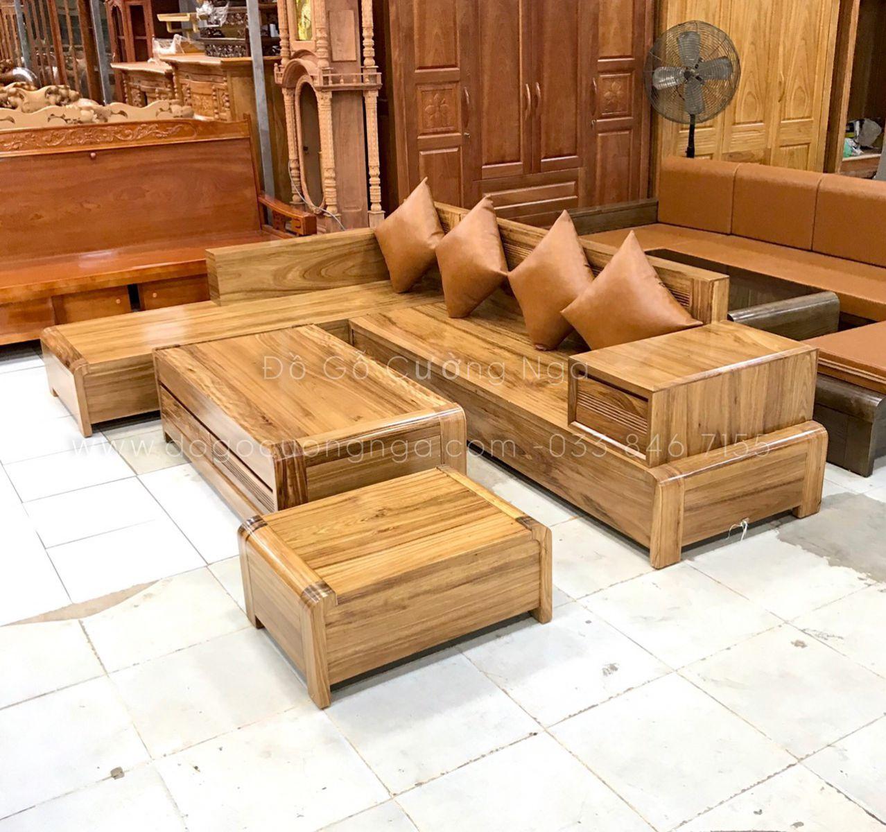 sofa góc L gỗ hương xám