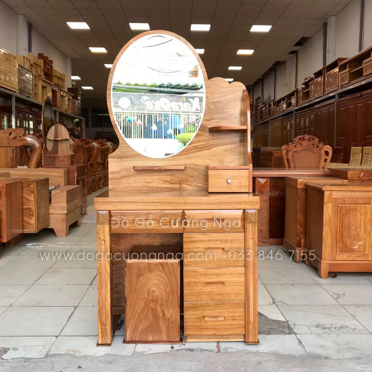 Bàn trang điểm gỗ hương xám 80 cm