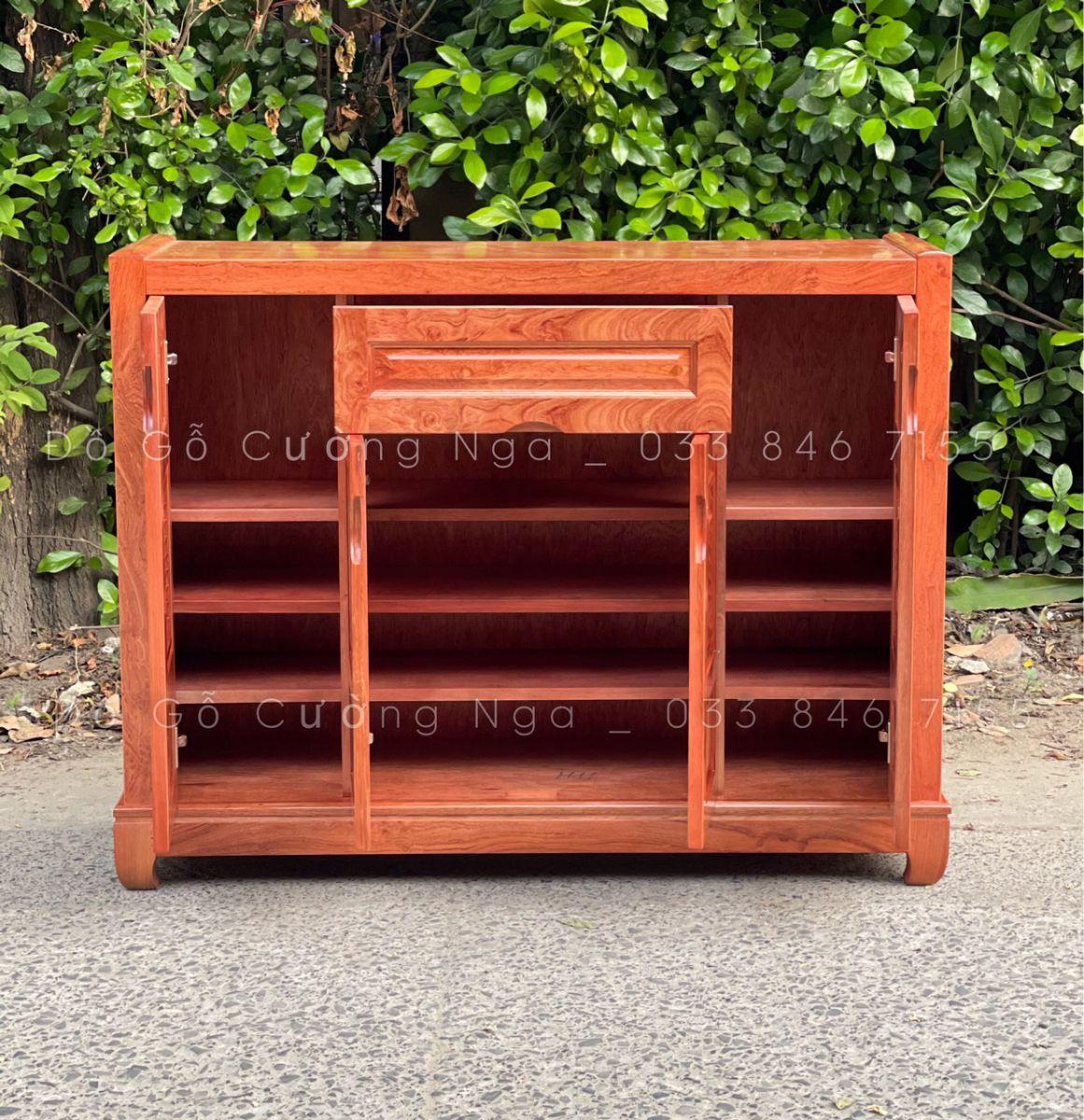 Tủ giày dép gỗ Hương Đá 4 cánh - 1m2