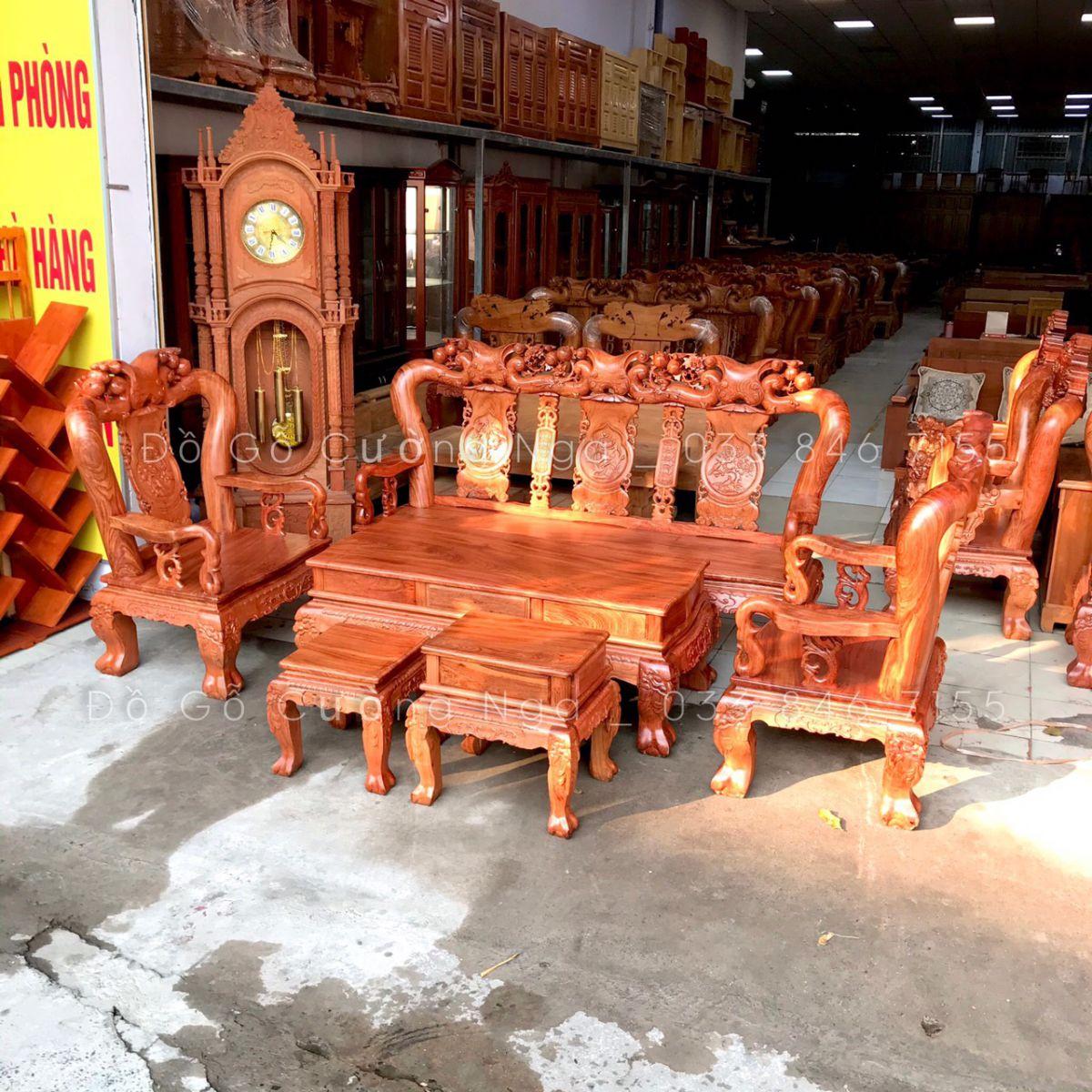 bộ bàn ghế salon gỗ hương đá tay 12