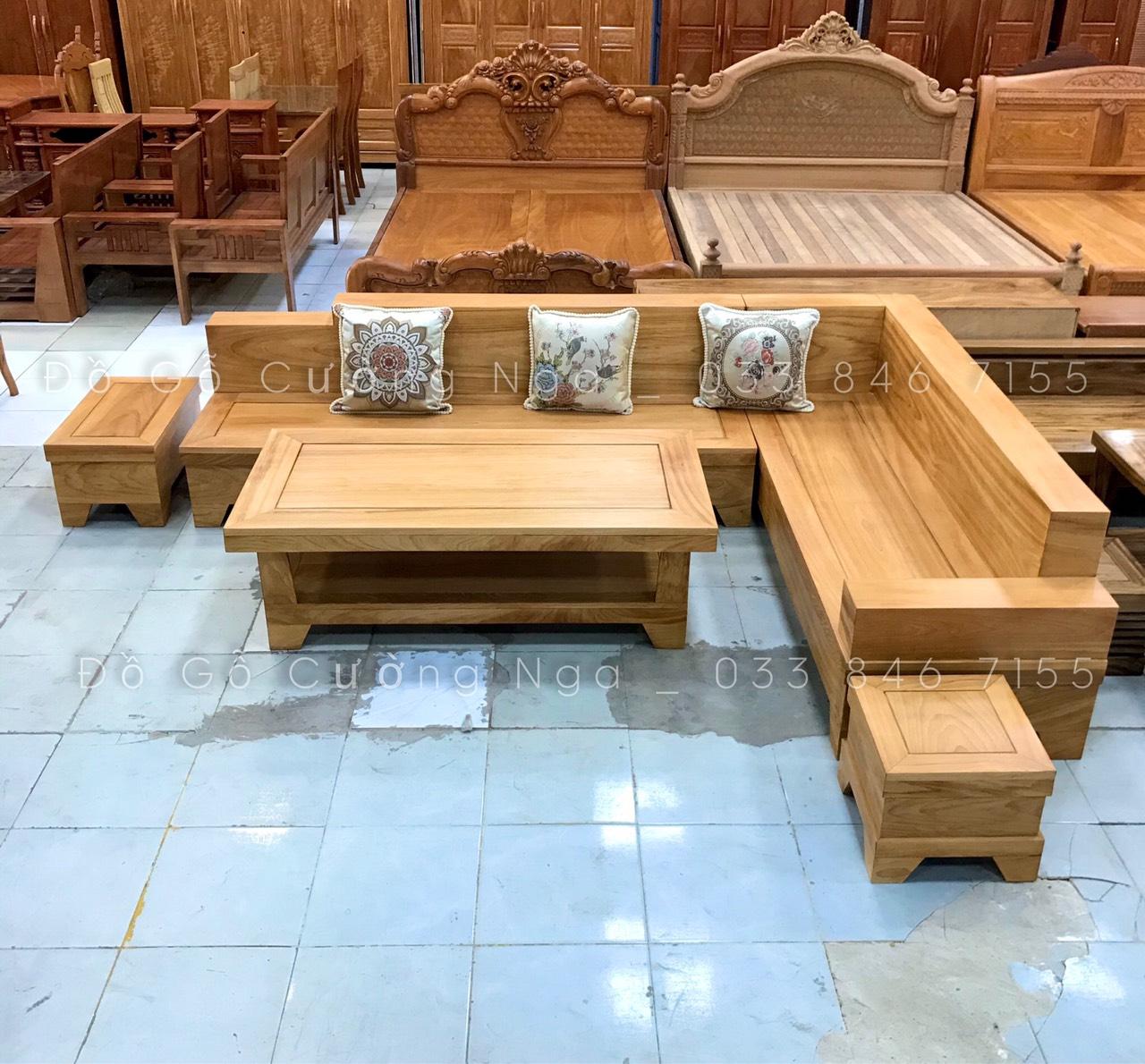 Sofa Gỗ Đỏ Góc L 2m82x2m12 ( Đóng Hộp ) (Ảnh 1)