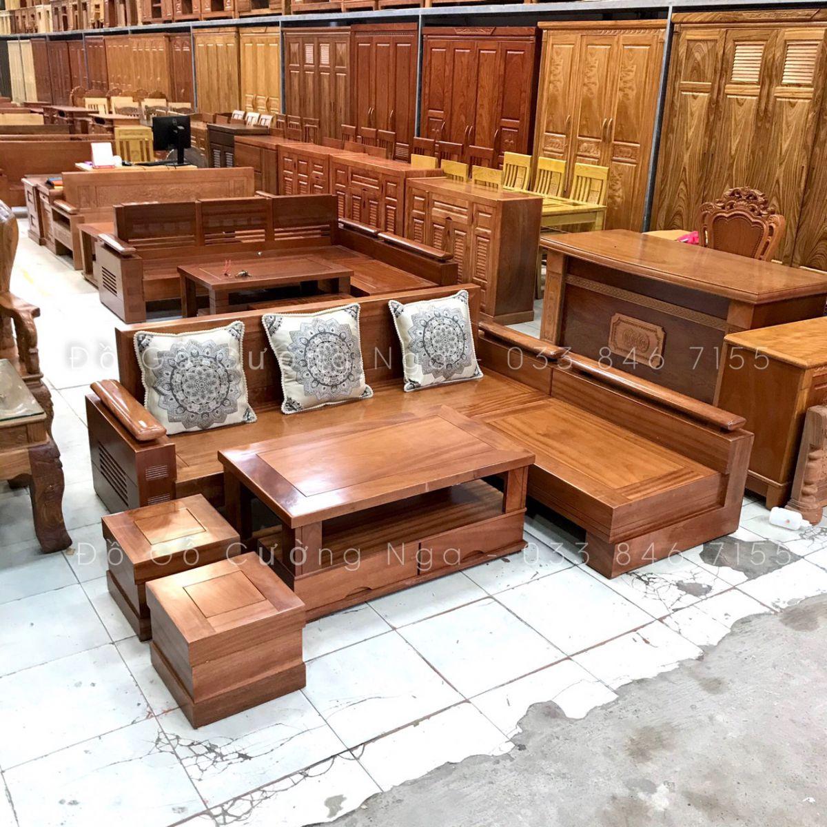 sofa góc L gỗ xoan đào