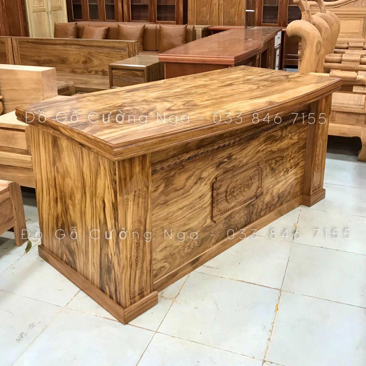 Bàn làm việc giám đốc gỗ Hương Xám - 1m6