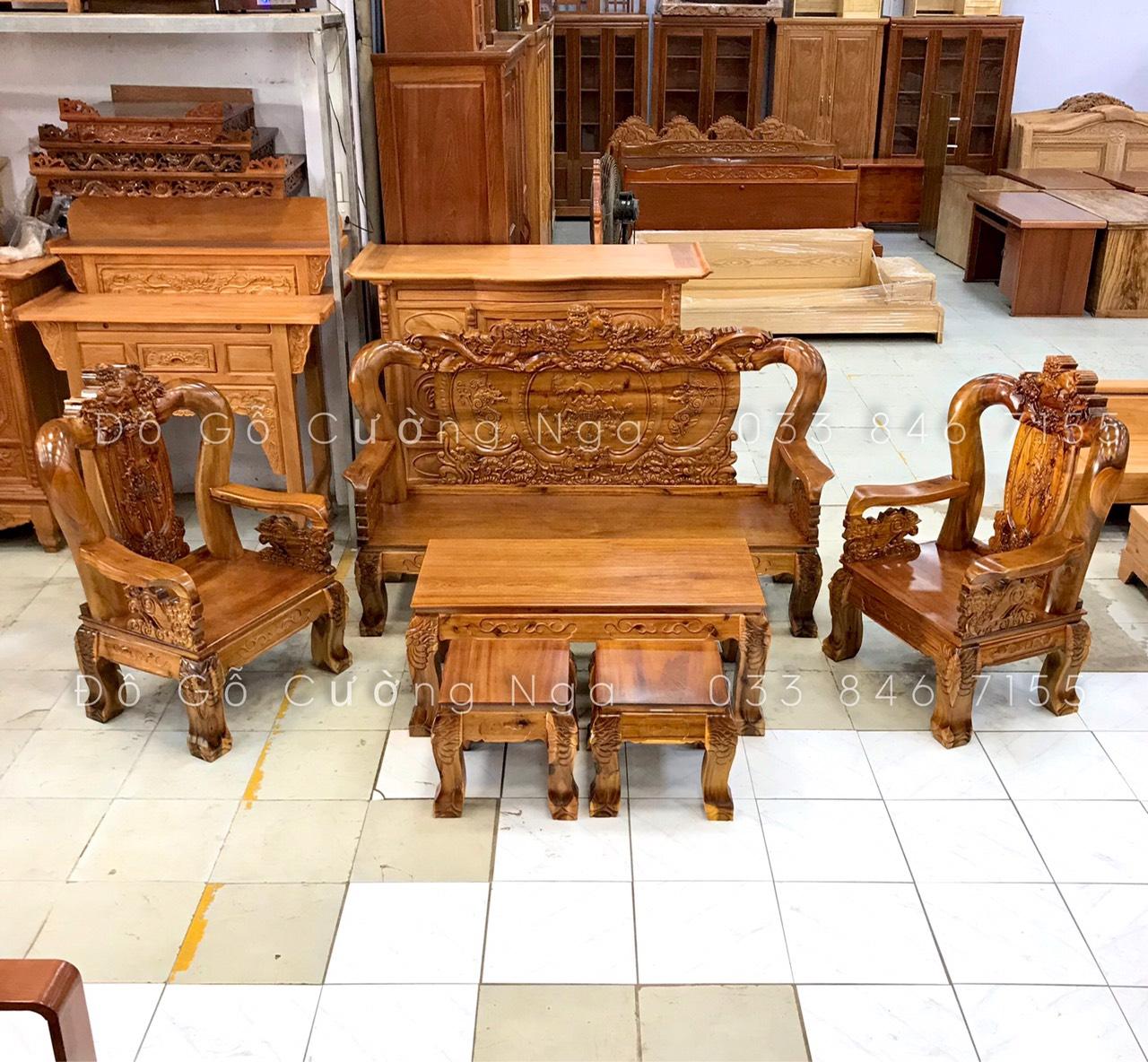 bộ bàn ghế salon gỗ tràm