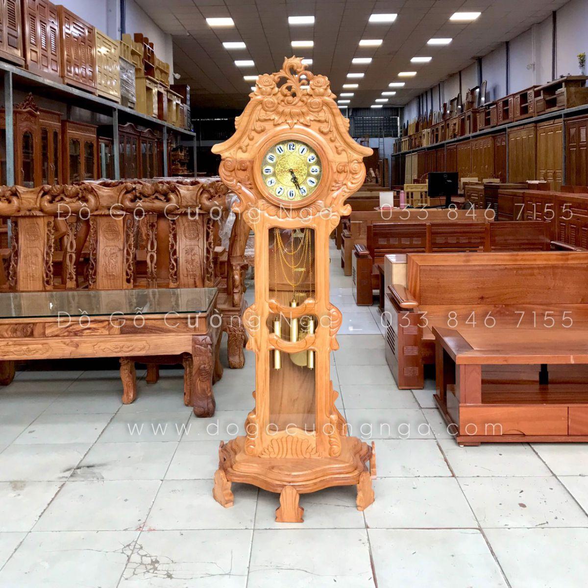 Đồng hồ cây gỗ Gõ Đỏ cao cấp