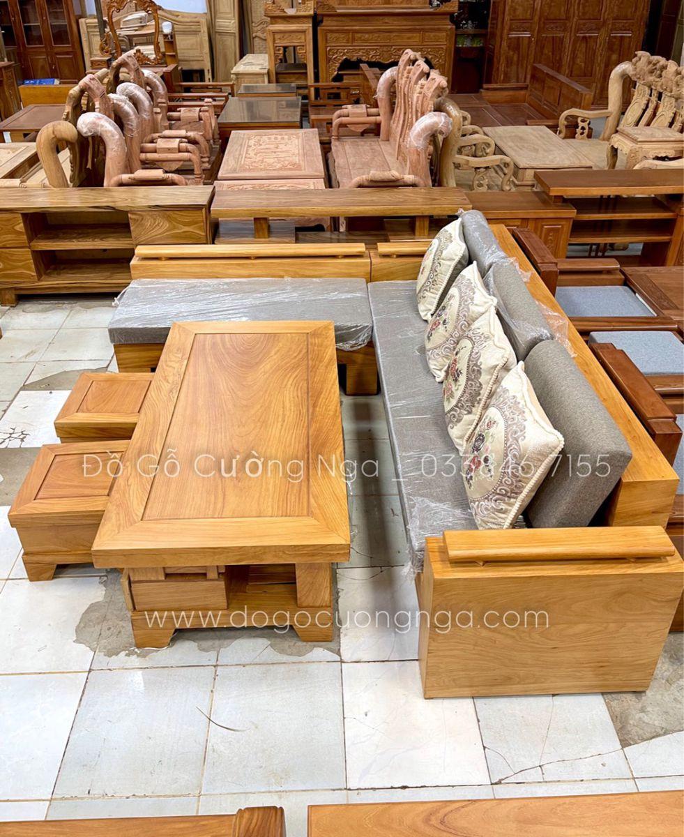 sofa gỗ gõ đro góc l