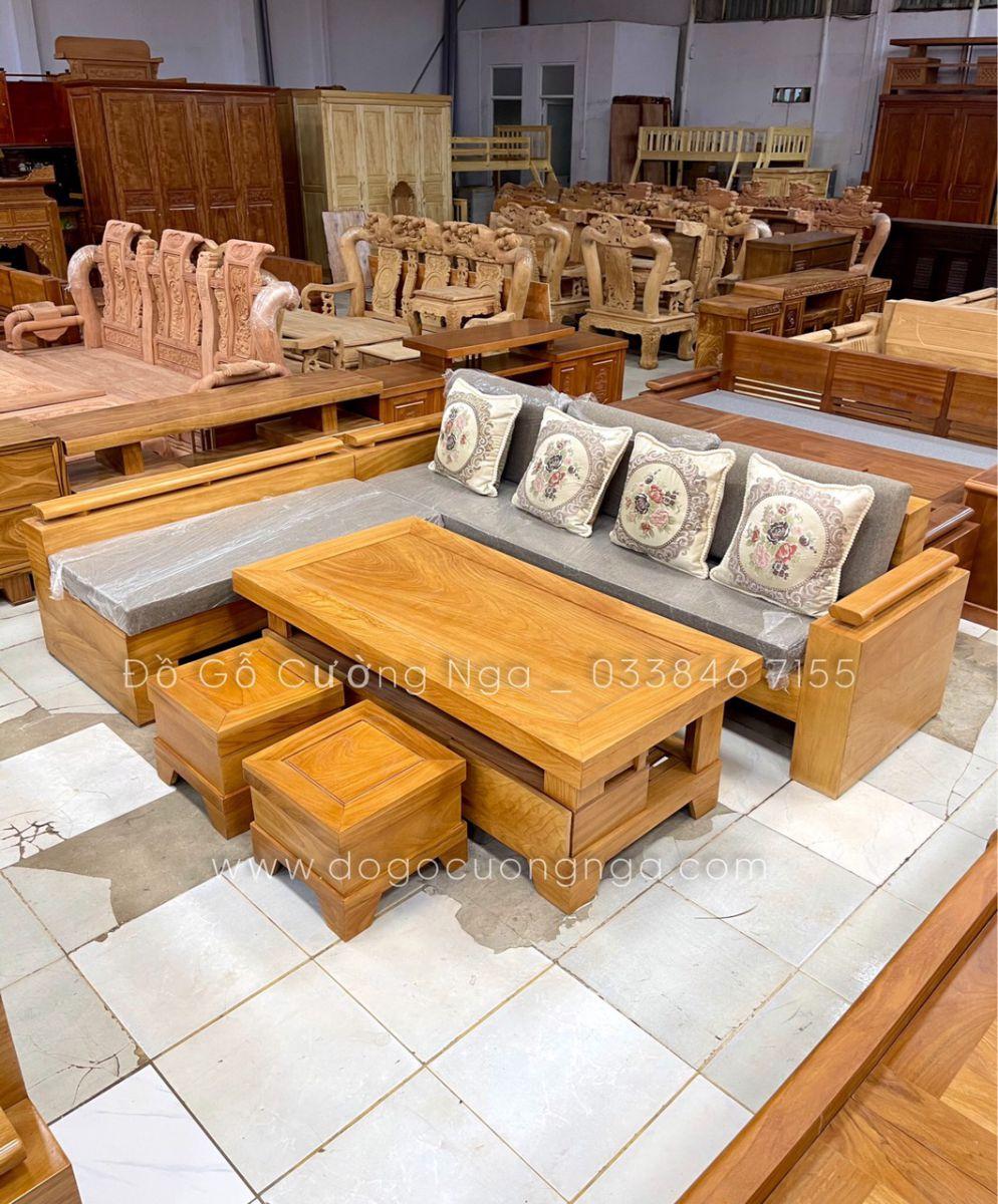 sofa gỗ gõ đỏ góc L