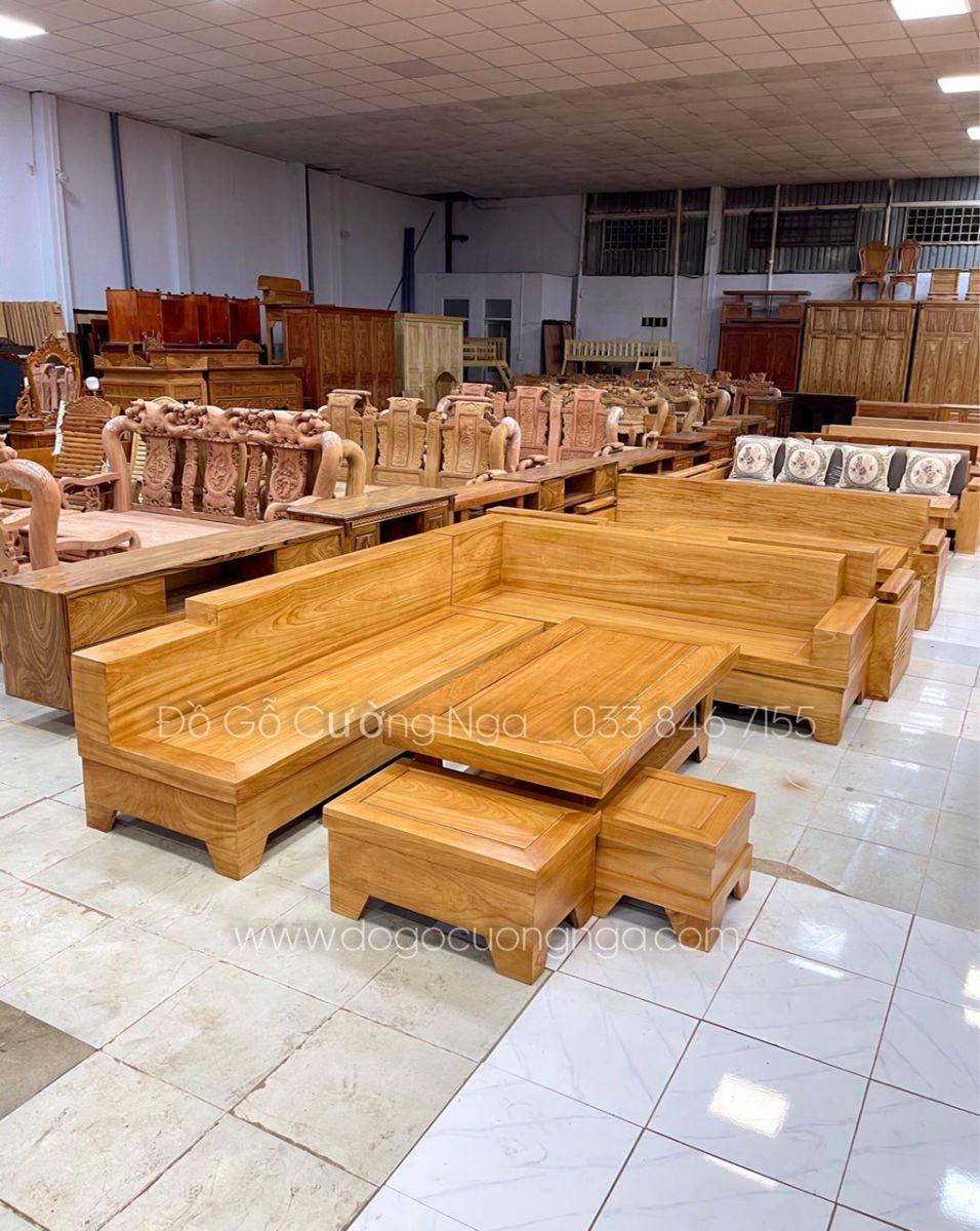 sofa gỗ gõ sỏ góc L