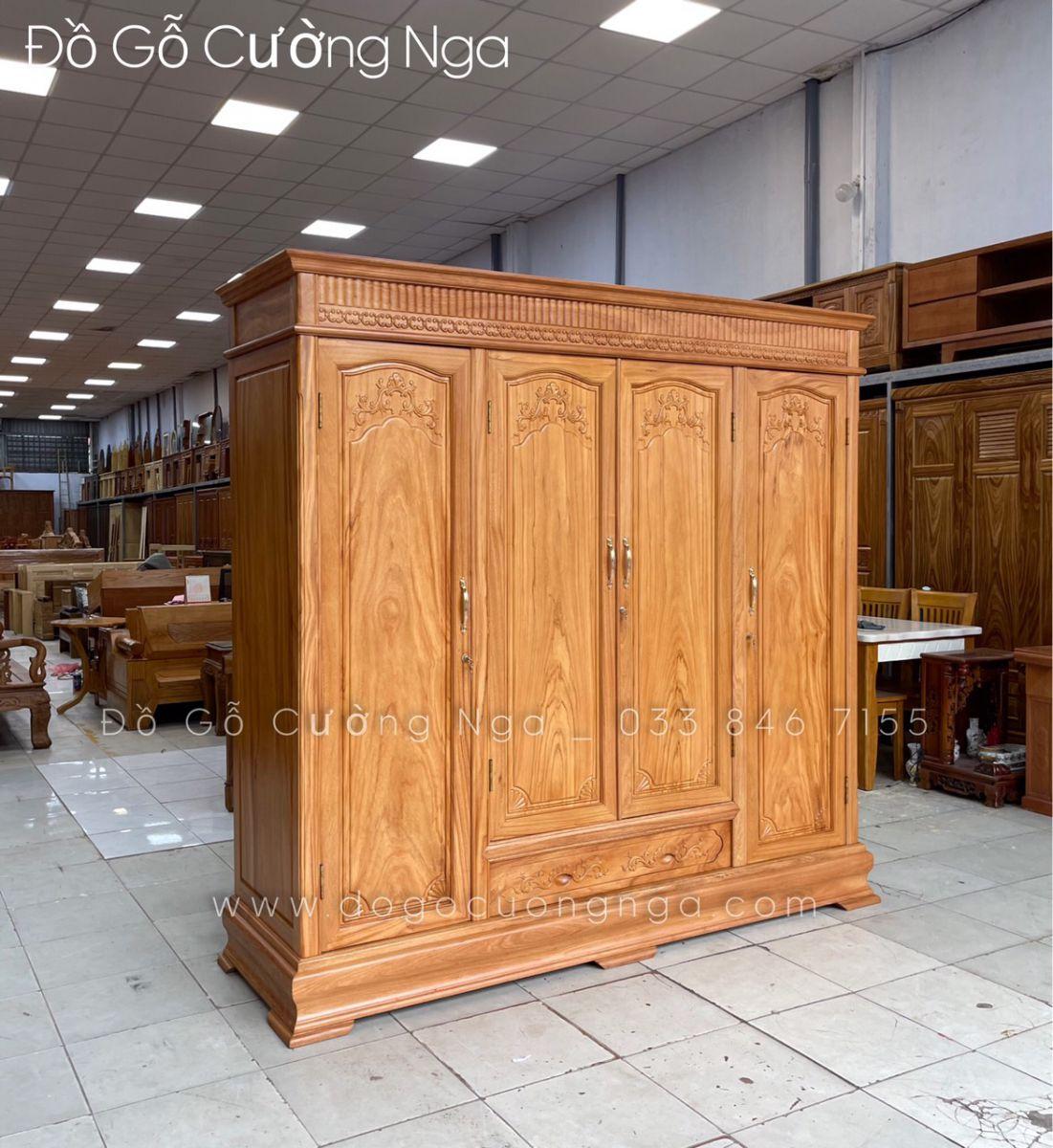 tủ quần áo gỗ gõ đỏ 4 cánh giá rẻ