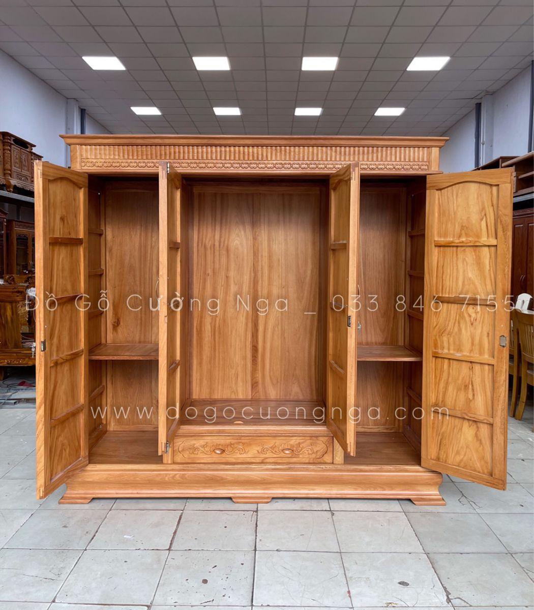 tủ áo gỗ gõ đỏ 4 cánh 3 buồng