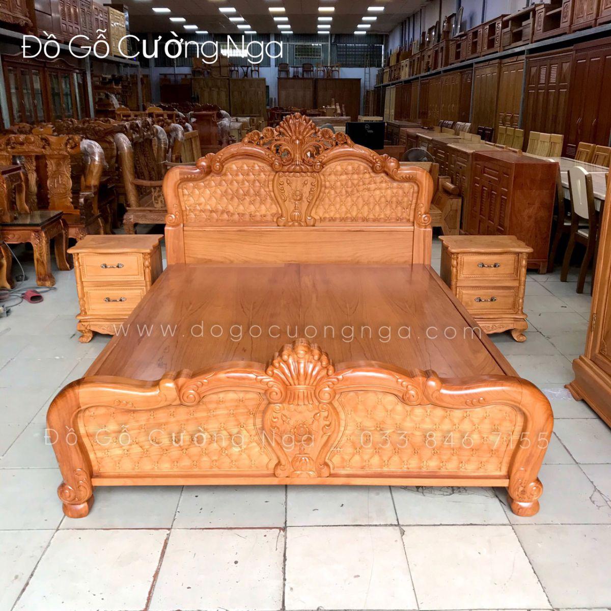 giường gỗ gõ đỏ 1m8x2m