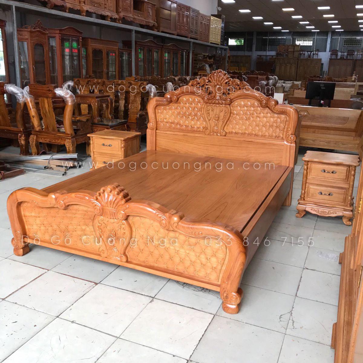 giường gỗ gõ đỏ
