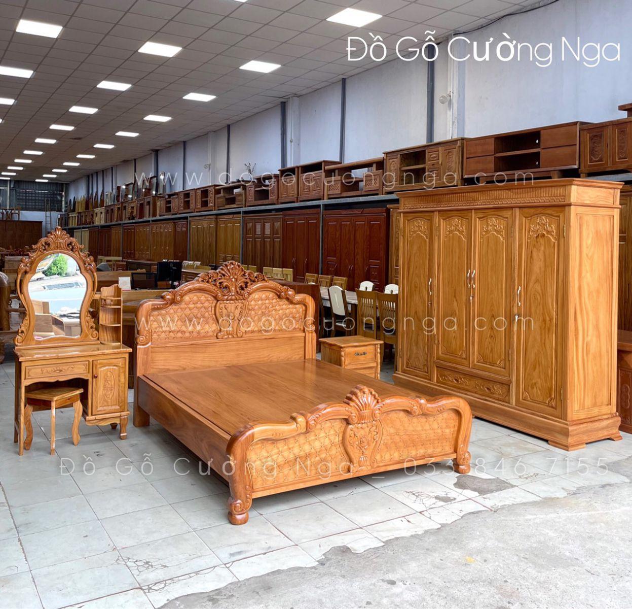 combo giường tủ gỗ gõ đỏ