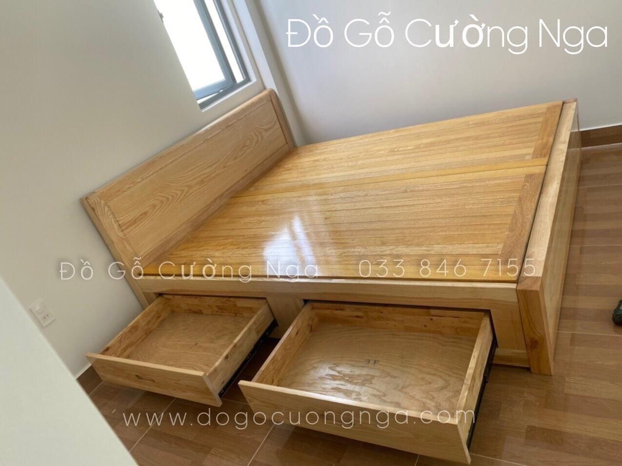 giường gỗ sồi nga có ngăn kéo